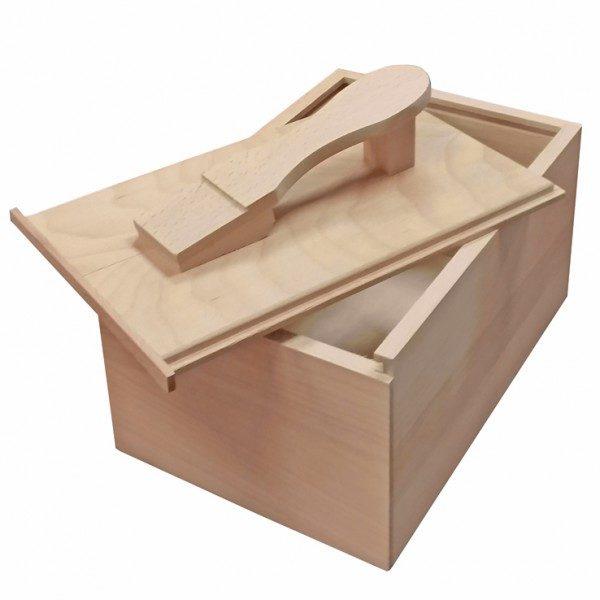 Coffret à cirages coulissant bois brut garni de produits SAPHIR