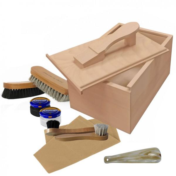 coffret cirages coulissant bois brut garni de produits saphir accessoires chaussures. Black Bedroom Furniture Sets. Home Design Ideas