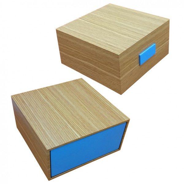 Coffret à cirages tiroir Bois/Bleu garni de produits SAPHIR