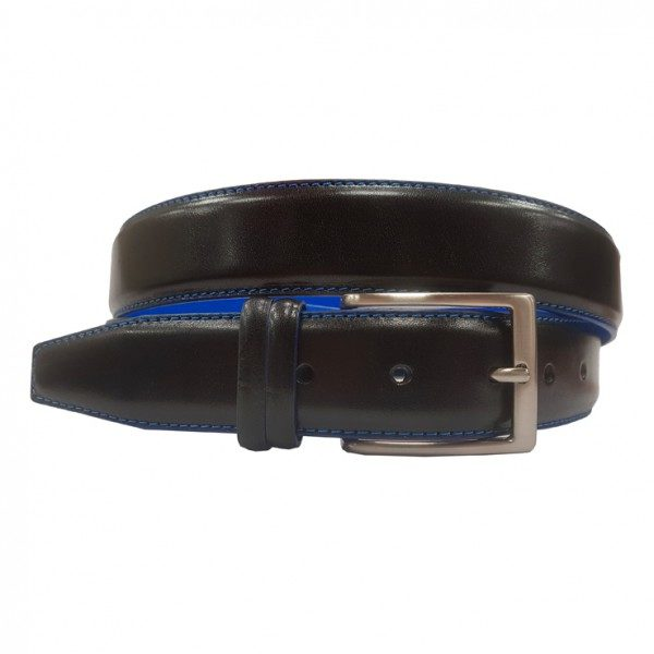 Ceinture en veau Noir/bleu en 35 MM