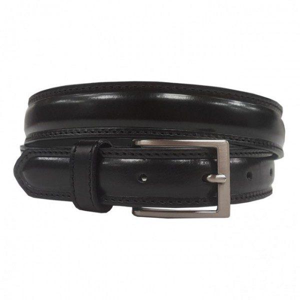 Ceinture en cuir bombé avec double couture noir 30mm