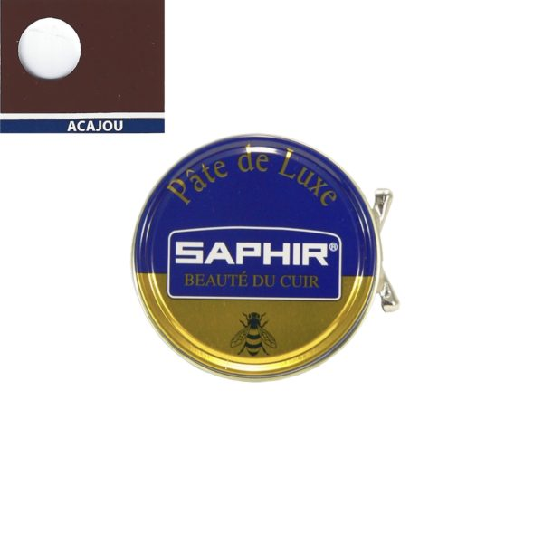 Cirage pâte de luxe Saphir 50 ml acajou à base de cire d'abeille pour chaussures