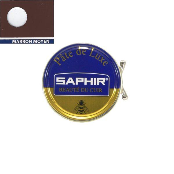 Cirage pâte de luxe Saphir 50 ml marron moyen idéal pour les glaçages chaussures